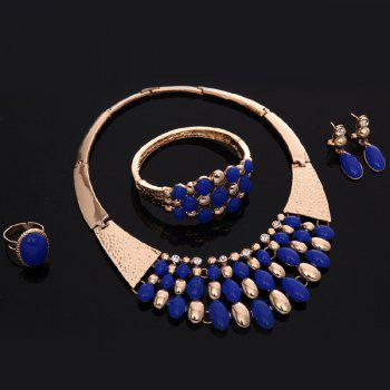 Delicate Cut Out Rhinestone Oval Rose Gold Necklace Set For Women - BLUE
