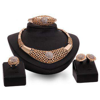 Hollow Out Gold Plated Flower Rhinestone Necklace Set