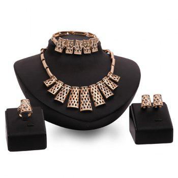 Hollow Out Gold Plated Rhinestone Fence Necklace Set