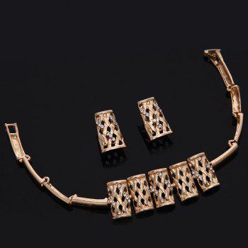 Hollow Out Gold Plated Rhinestone Fence Necklace Set - ROSE GOLD
