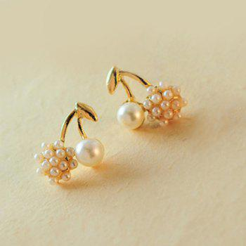 Pair of Cherry Shape Faux Pearl Earrings
