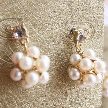 Pair of Ball Faux Pearl Earrings - GOLDEN
