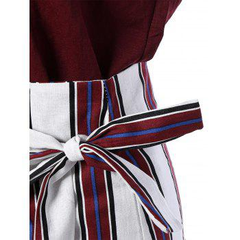 Scoop Neck Short Sleeve T-Shirt and Striped Fishtail Skirt Set - WINE RED ONE SIZE