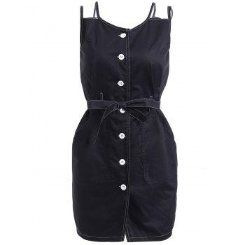 Scoop Neck Button Belted Overall Dress