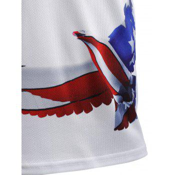 Olympic Peace Dove Print Round Neck Short Sleeve T-Shirt - WHITE XL