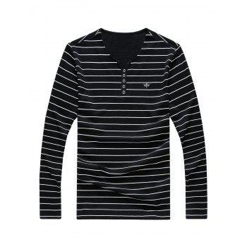 Buttons Insect Metal Embellished V-Neck Long Sleeve Stripe Men's T-Shirt