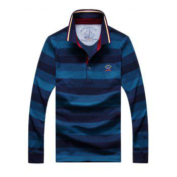 Embroidered Color Block Stripe Polo Collar Long Sleeve Men's T-Shirt