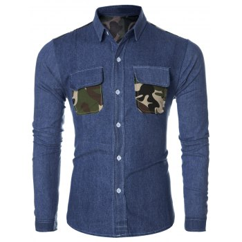 Fashion Camo Pockets Design Turn-Down Collar Long Sleeve Denim Shirt For Men