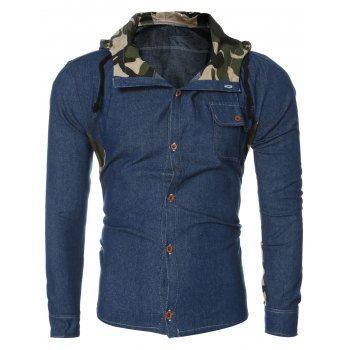 Fashion Camo Collar Spliced Long Sleeve Hooded Denim Shirt For Men
