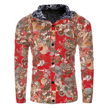 Ethnic Flower Print Floral Lining Design Hooded Long Sleeve Shirt For Men