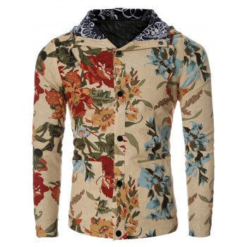 Vintage Flower Print Floral Lining Design Hooded Long Sleeve Shirt For Men