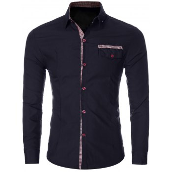 Fashion Plaid Spliced Turn-Down Collar Long Sleeves Shirt For Men
