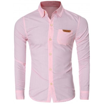 Chic Pocket Hem Design Turn-Down Collar Long Sleeves Shirt For Men