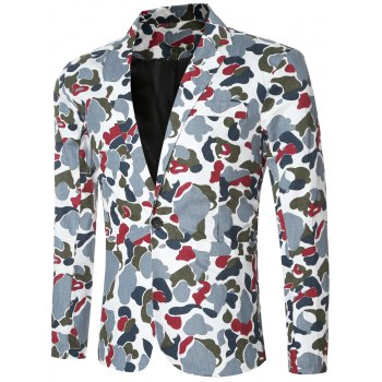 Single Button Opening Notched Lapel Collar Camo Bomber Blazer For Men