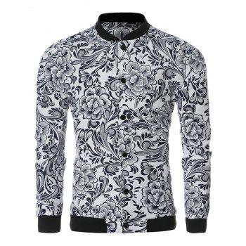 Ethnic Style Flower Print Black and White Collar Long Sleeve Bomber Jacket