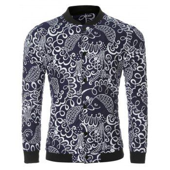 Ethnic Pattern Print Collar Long Sleeve Bomber Jacket