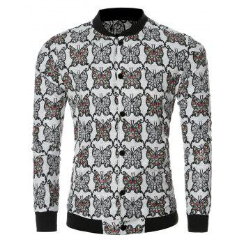 Chic Butterfly Print Collar Bomber Long Sleeve Jacket