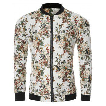 Vintage Flower Print Long Sleeve Bomber Collar Jacket