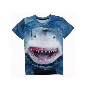 Shark 3D Print Round Neck Men's Short Sleeve T-Shirt