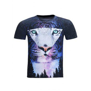 Round Neck 3D Starry Sky Geometric Tiger Print Short Sleeve Men's T-Shirt