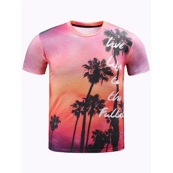 Round Neck 3D Ombre Trees and Letters Print Short Sleeve Men's T-Shirt
