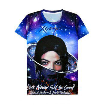 Starry 3D Print Round Neck Men's Short Sleeve T-Shirt