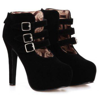 Trendy Flock and Buckles Design Women's Ankle Boots - BLACK 38