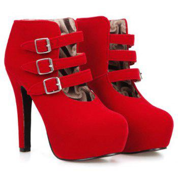 Trendy Flock and Buckles Design Women's Ankle Boots - RED 38