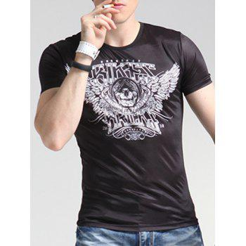 Wings Print Round Neck Short Sleeve Men's T-Shirt