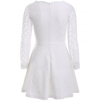 Floral Embroidered Lace Casual Wedding Dress - WHITE 3XL