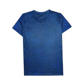 Earth 3D Print Round Neck Men's Short Sleeve T-Shirt - DEEP BLUE S