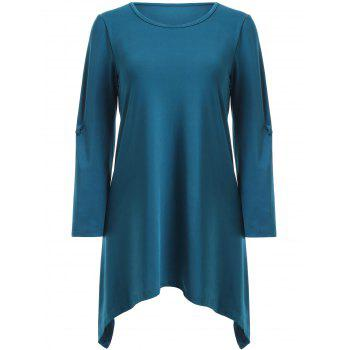 17 Off 2019 Stylish Scoop Neck Solid Color Ruched 3 4