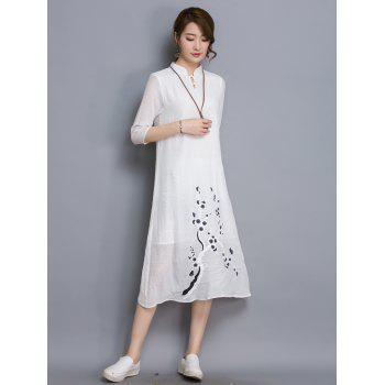 Chic 3/4 Sleeve Abstract Floral Print Loose-Fitting Women's Dress - WHITE M