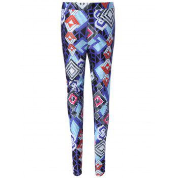 Géométrique Plaid Imprimer Tendues Skinny Leggings - multicolore M