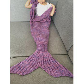 Fashion Knitted Falbala Shape Mermaid Tail Design Blankets For Baby -  LIGHT PURPLE
