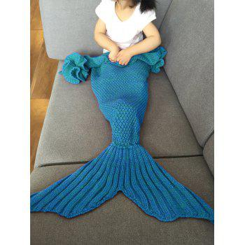 Fashion Knitted Falbala Shape Mermaid Tail Design Blankets For Baby - BLUE BLUE