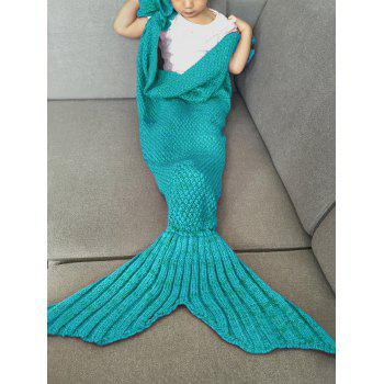 Fashion Knitted Falbala Shape Mermaid Tail Design Blankets For Baby - GREEN GREEN