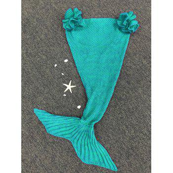Fashion Knitted Falbala Shape Mermaid Tail Design Blankets For Baby -  GREEN