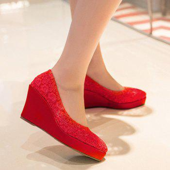 Stylish Lace and Red Design Women's Wedge Shoes - RED 37
