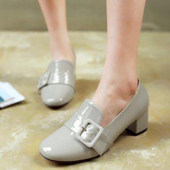 Stylish Patent Leather and Buckle Design Women's Pumps - LIGHT GRAY 39