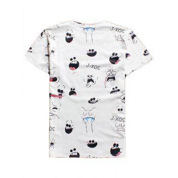 3D Cartoon Expression Men's Round Neck Short Sleeves T-Shirt - WHITE 2XL
