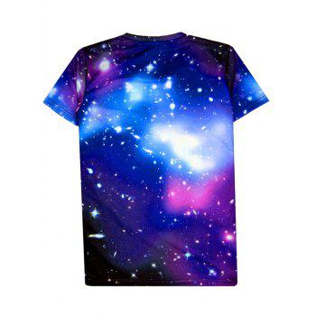 Starry 3D Print Round Neck Men's Short Sleeve T-Shirt - PURPLE XL