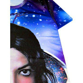 Starry 3D Print Round Neck Men's Short Sleeve T-Shirt - PURPLE 2XL