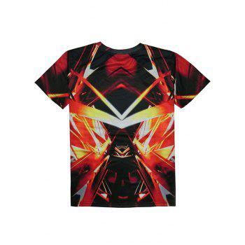 Abstract 3D Print Round Neck Short Sleeve Men's T-Shirt - RED S