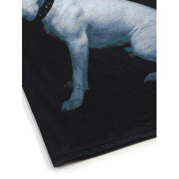 Puppy 3D Print Round Neck Men's Short Sleeve T-Shirt - BLACK XL