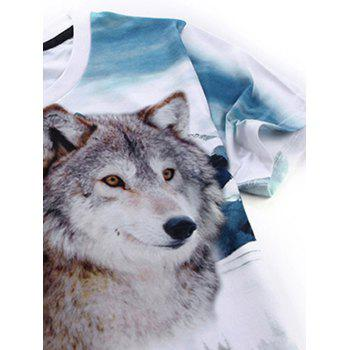 Wolf 3D Print Short Sleeve T-Shirt - WHITE S