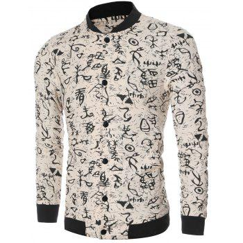 Ancient Letter Print Collar Long Sleeve Bomber Jacket - OFF WHITE L