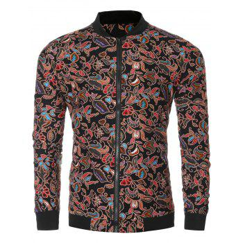 Rib Splicing Floral Jacket
