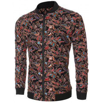 Full Floral Print Bomber Jacket - BLACK 2XL