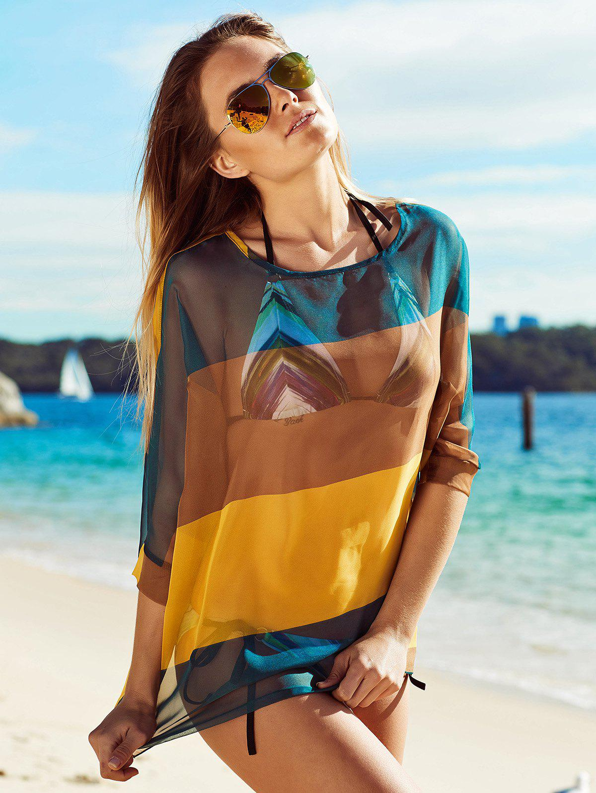 See-Through Color Block Beach Cover Up - COLORMIX XL
